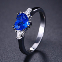 boho female blue opal stone ring dainty round crystal silver wedding rings for women cute bridal love heart engagement ring Minimalist Female Blue Crystal Stone Ring Elegant Love Heart Zircon Wedding Rings For Women Cute Bridal Silver Engagement Ring