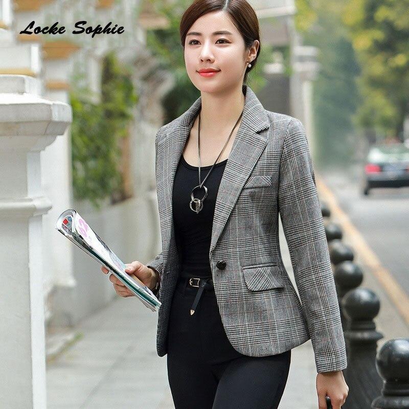 1pcs Women Plus Size Blazers Coats 2019 Winter Cotton Blend Plaid Slim Fit Small Suits Jackets Ladies Skinny Blazers Suits Coats