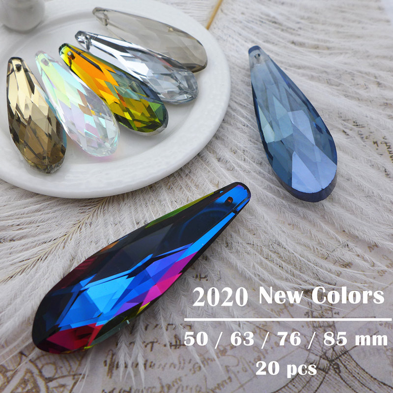 50/63/76/85mm crystal prisms rainbow chandelier pendants accessories lamp parts curtain hanging glass metallic drops plated AB(China)