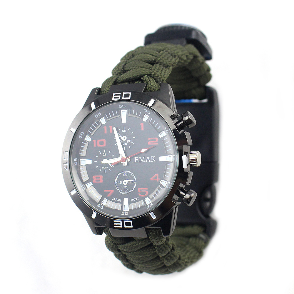 Outdoor Camping Multi-functional Mountain Climbing Watch Seven Core Umbrella Rope Weaving Compass Thermometer Firestone Bracelet