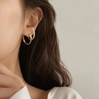 Perisbox, pendientes de doble círculo de Color dorado, pendientes geométricos de Zirconia cúbica para mujer, pendientes coreanos minimalistas en espiral, tachuelas