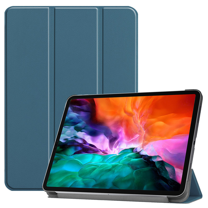 Dark Green Blue For iPad Pro 12 9 2021 Case PU Leather Folding Stand Hard PC Back Smart Cover