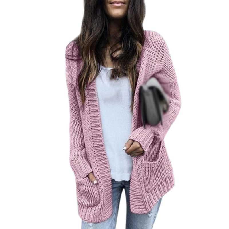 Woemn Herfst lange sectie dikke lijn vest fashion casual dames kleding effen kleur mooie polyester trui jas