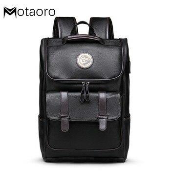 New Laptop Black Backpack Men Leather School Backpack Bag For College Simple Design Men Casual Mochila Travel Backpacks Mochilas