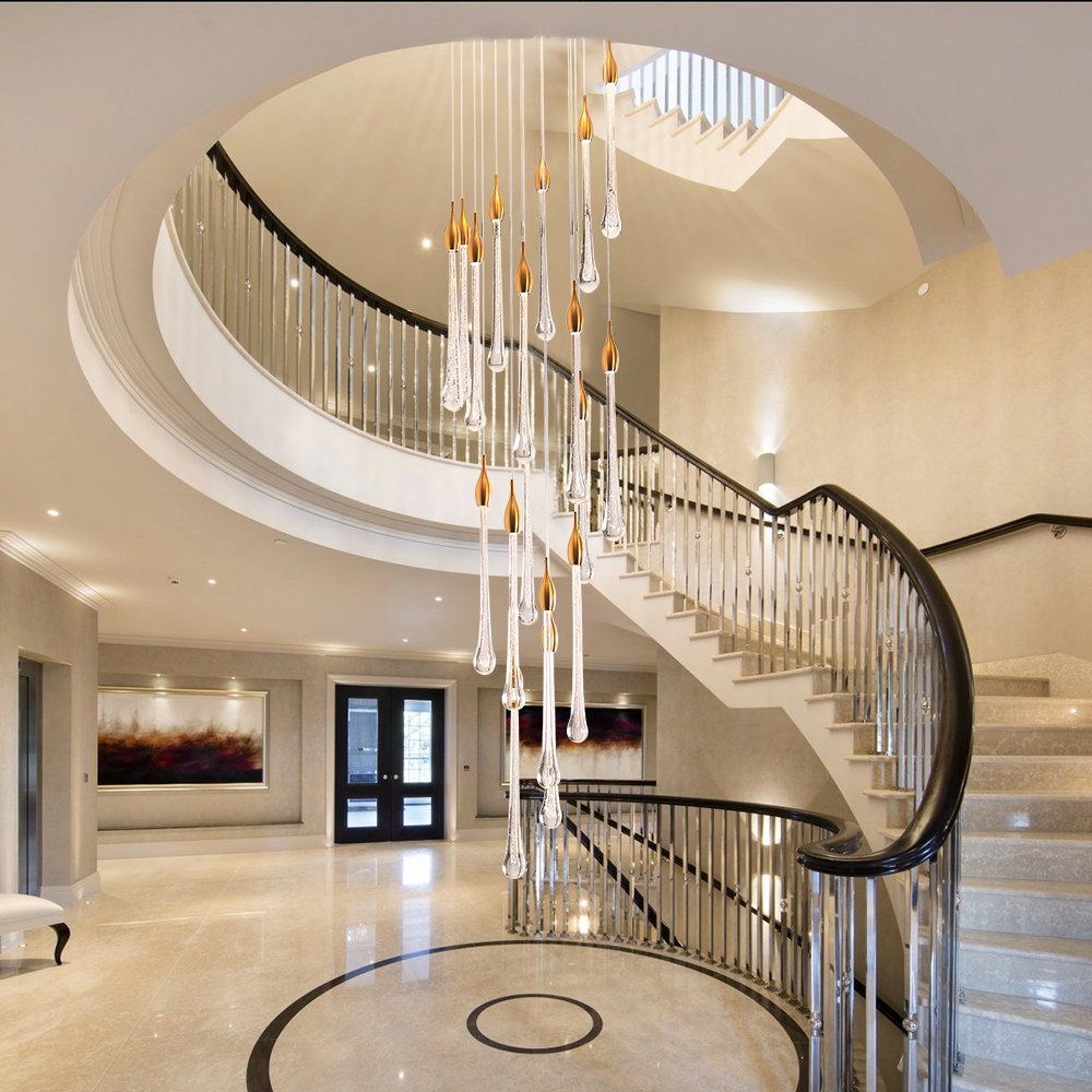 Роскошные хрустальные светодиодные подвесные светильники лестница длинная водяная капля осветительный прибор кухня ресторан подвесной с