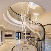 Luxury crystal led pendant lights fixture large staircase long water drop kitchen island restaurant rectangle hanging lamp