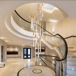 Luxus kristall led anhänger lichter leuchte treppe lange wasser tropfen küche restaurant rechteck hängen lampe lampy wiszace
