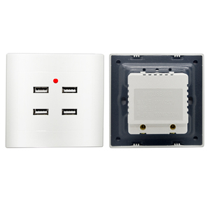 Image 5 - איחוד אירופי תקע USB הכפול טעינת יציאת 5V 2.1A LED מחוון 16A קיר שקע חשמל שקע שקע מחשב לוח מעוגן להבת מעכב 86mm
