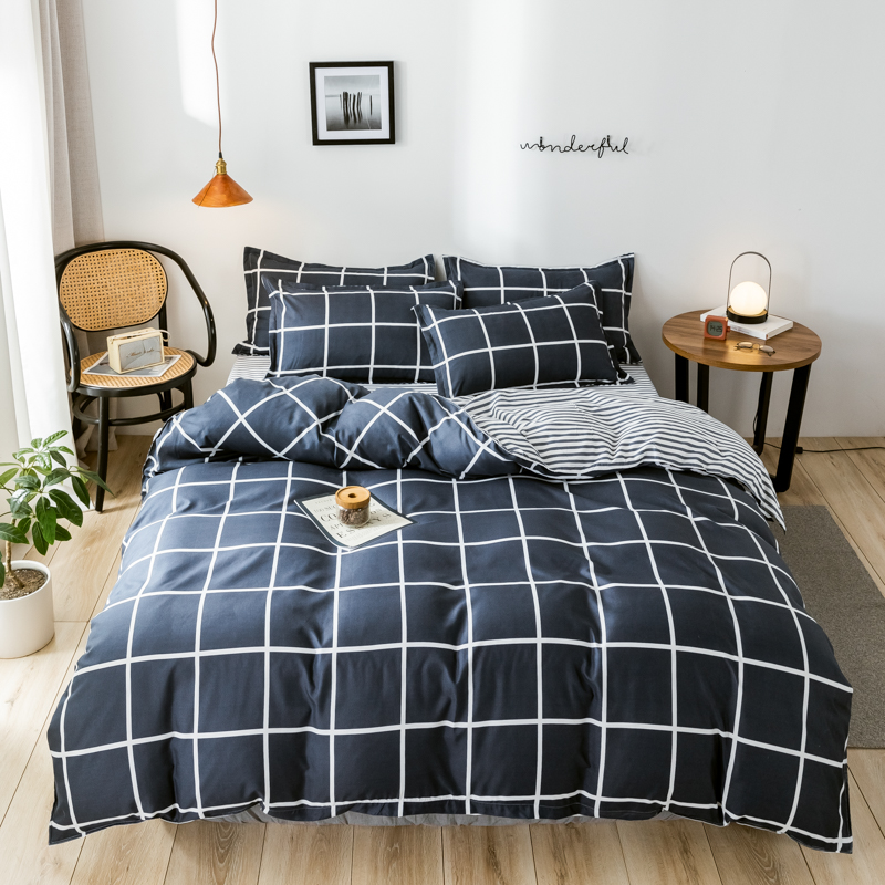 Pure Cotton Nordic Reactive Printed Plaid Striped Comforter Sets Bed Linens 3/4PCS Twin Full Queen Size Kids Adult Bedding Sets