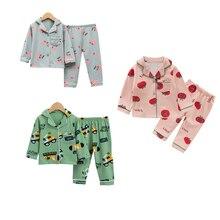 New Children's Long Sleeve Pajamas For Boys Cotton Pajamas Kids Smile Printed Pyjamas Child Sleepwear Set Girls Night Wear