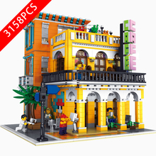 New City Series Toys Coffee Shop Compatible Lepinzk City Brick4 10002-003-004 Building Blocks Toys for Children Birthday Gift 2020 new city police station bela compatible lepining city 60141 60047 60140 building blocks toys for children birthday gift