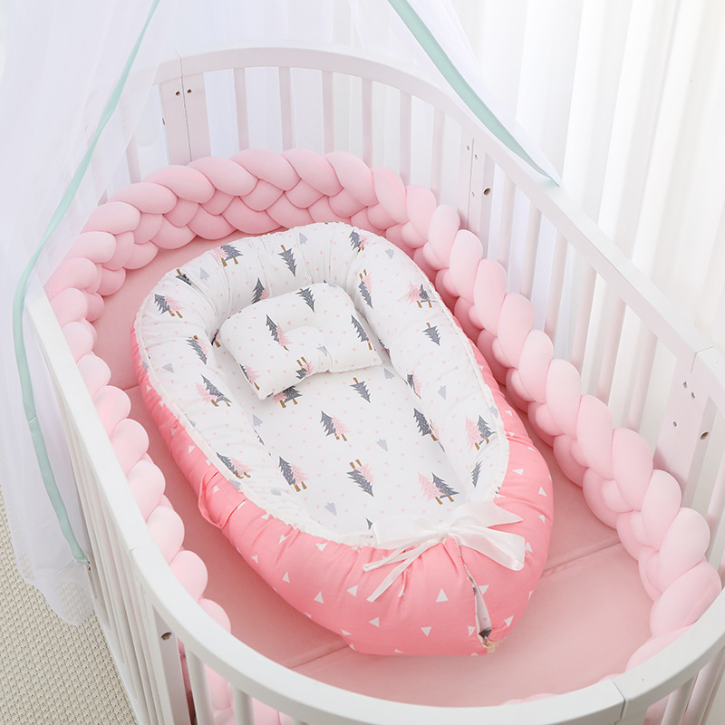 designed for foldable,removable and washable portable pressure-proof crib,middle bionic full detachable baby pillow crib 50-85cm