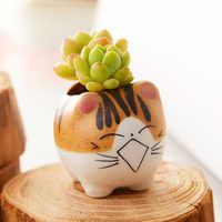 Maceta de plantas de cerámica con diseño de gato para decoración del hogar, maceta de plantas con diseño de dibujos animados para mesa de oficina, Mini bonsái, 5 estilos