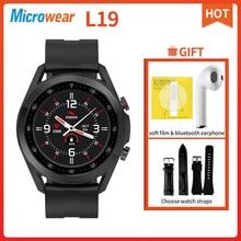 Microfones l19 relógio inteligente bluetooth chamada ecg pressão arterial freqüência cardíaca à prova dlágua rastreador de fitness smartwatch l16 dt95 l13 l15