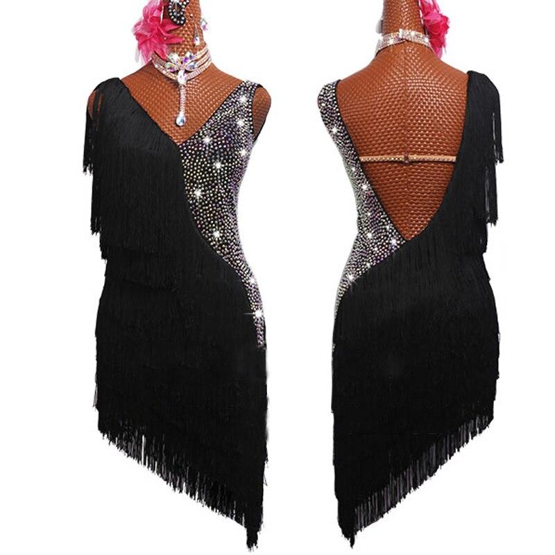 Latin Dress Women Dancing Rhinestone Dress Black Tassels Fringe Dress Rumba Dress Competition Salsa Costume Gatsby Dress BL2539