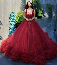 Gorgeous Red Lush Tulle Ball Gowns Lace Beaded Women Dresses To Wedding Party Ruffles Tulle Mesh Prom Gowns