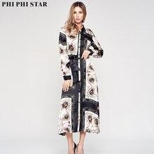 Phi Star European American style geometric design Women Dresses Fashion Printed Chiffon Long Dress Button opening clothing
