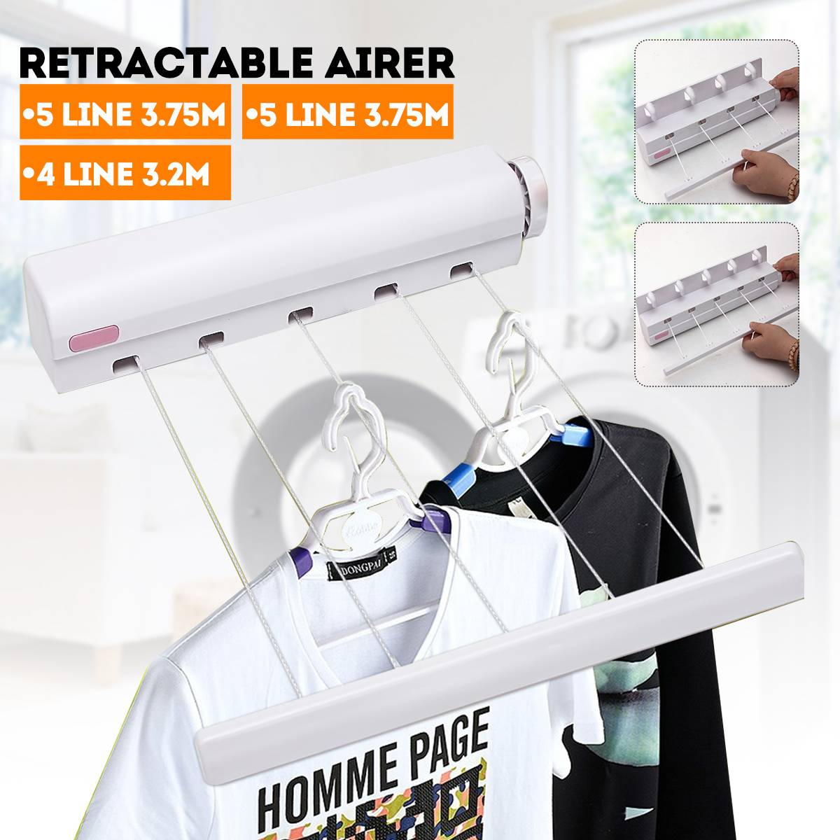 Retractable Indoor Clothes Hanger Hook Rope Wall Mounted Hanger Drying Towel Rack Flexible Clothesline Bathroom Clothes Dryer