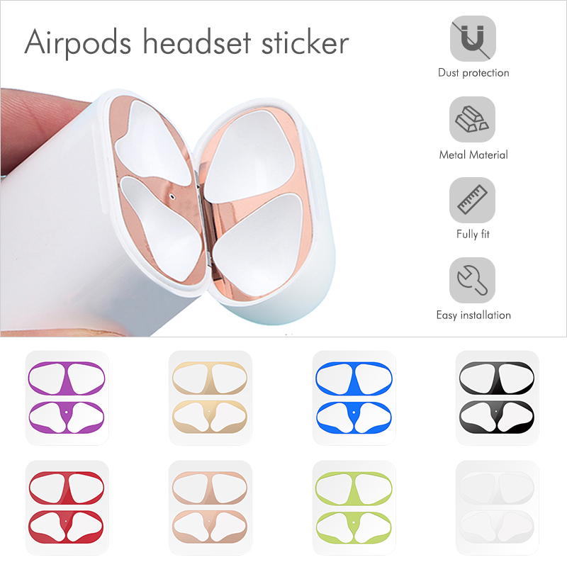 Dust-proof Scratchproof Sticker For AirPods 1 2 Sticker Dust Guard Protective Earphone Film For Apple AirPods 2 1 Cover Stickers