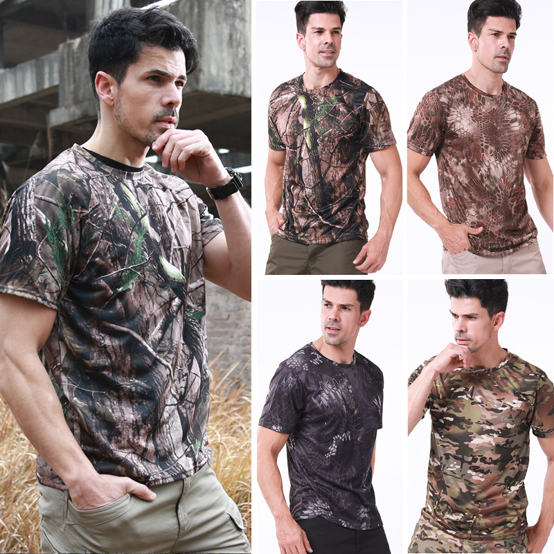 New Men Army Tactical Combat T-Shirts Breathable Quick Dry Military Sport Tops Outdoor Camping Camouflages Camo Hunting Tees