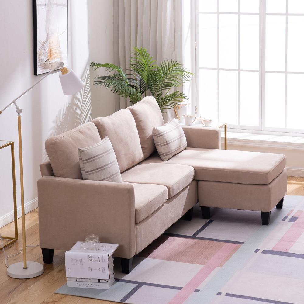 【US Warehouse】Double Chaise Longue Combination Sofa Beige