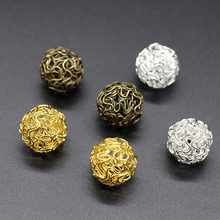 Mibrow 10pcs Gold Silver Color Fashion Hollow Out Ball Dangle Earrings Beads Drops For Women Earrings DIY Jewelry Findings