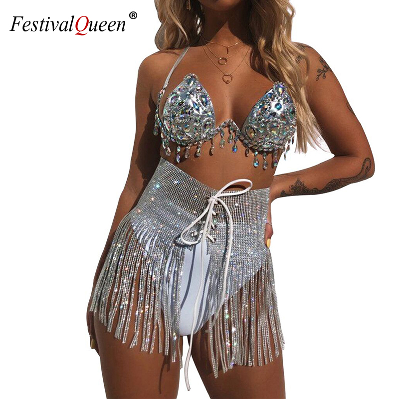 Festival Sexy Rhinestone Sequins Tassel Skirt Handmade Women Rhinestone Lace Up High Waist Nightclub Party Mini Skirt For Lady
