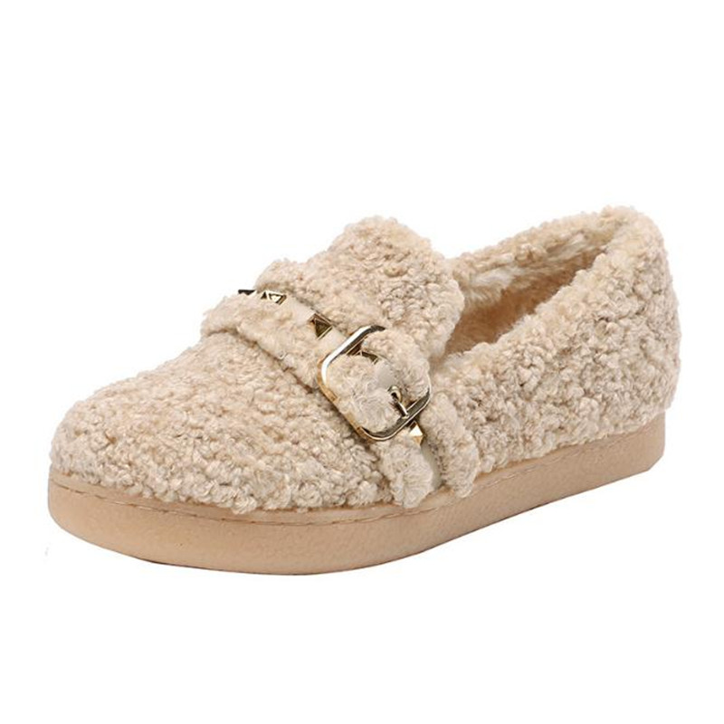 Women Winter Shoes furry flats 2019 new velvet flat large size 34-41 shos casual women shoes rivet Ballet Flats Loafers obuv