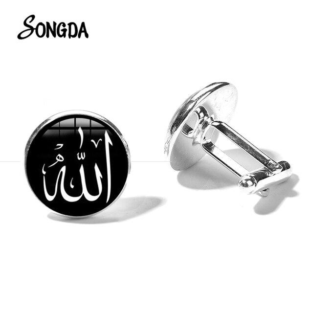 מוסלמי אללה סמל חפתים 2019 דת האיסלאם אללה אמנות מודפס זכוכית כיפת באיכות גבוהה חפתים חליפת חולצת כפתורים