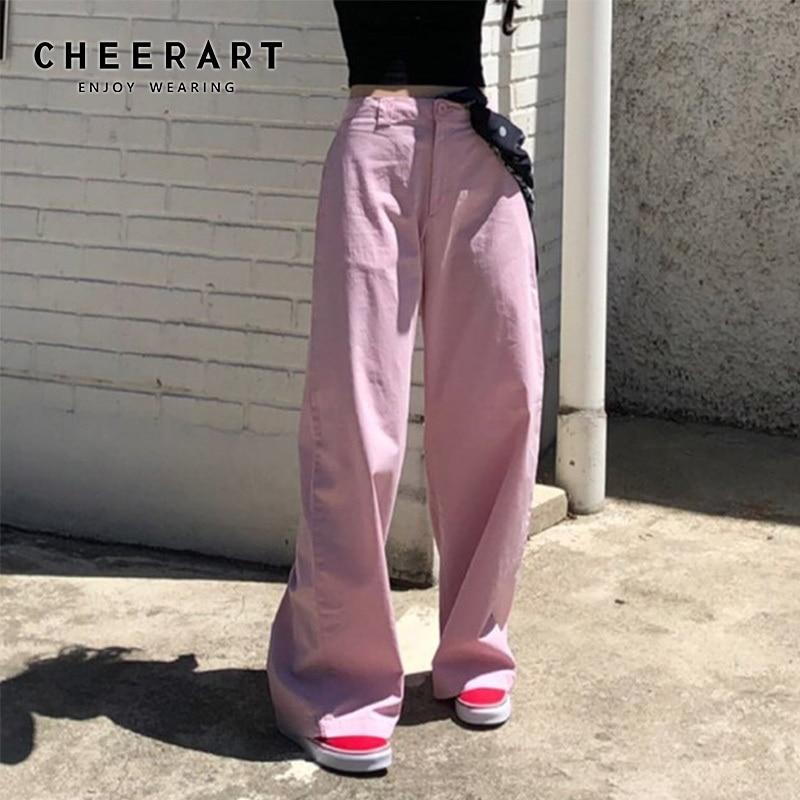 CHEERART Wide Leg Pants Women High Waist Cotton Loose Pink Pants Trousers Women Korean Grunge Long Pants