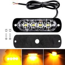 цена на 4pcs/set 4 Led Strobe Warning Light Strobe Grille Flashing Lightbar Truck Car Beacon Lamp Amber Yellow Traffic Light 12V - 24V