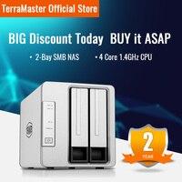 TerraMaster F2-210 NAS 2 bahías Quad Core Multimedia de Almacenamiento en la Nube Personal (Sin Discos)