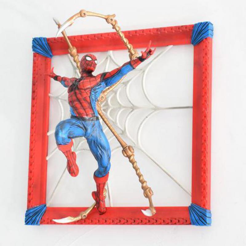 37cm Spiderman cadre Photo figurine Avengers Alliance 3 Infinity War Spider-man figurine avec tenture murale Web limitée Editio