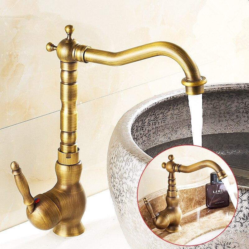 Robinet lavabo salle de bain Antique Bronze 360 degrés tour bassin robinet robinet d'eau poignée unique eau froide et chaude