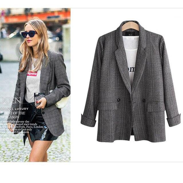 Spring Autumn Blazer Women  New Plaid Korean Jackets Long Sleeve Notched Vintage Casual Fashion Office Coats 3