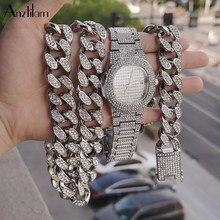 Anztilam bling iced para fora conjunto de corrente cubana colar & relógio & pulseira pavimentada strass para homem feminino rapperhip hop conjunto de jóias
