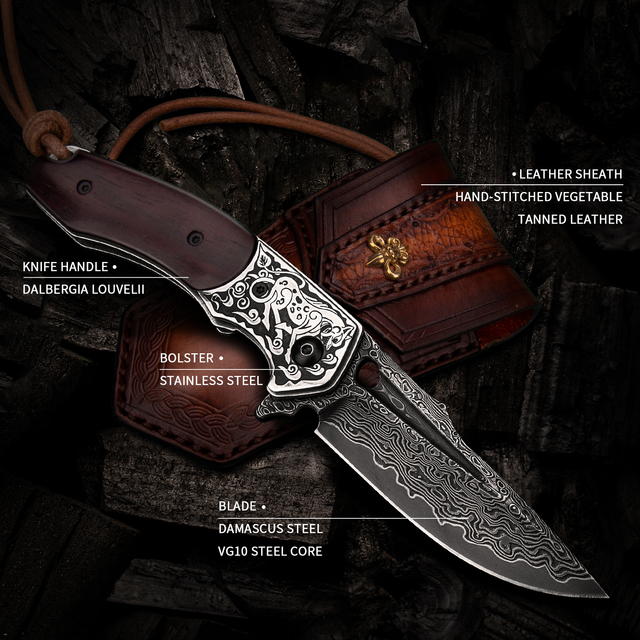 Handmade Folding Knife Damascus Steel Blade Wooden Handle EDC Self Defense Camping Hunting Tactical Pocket Knives with Sheath 6