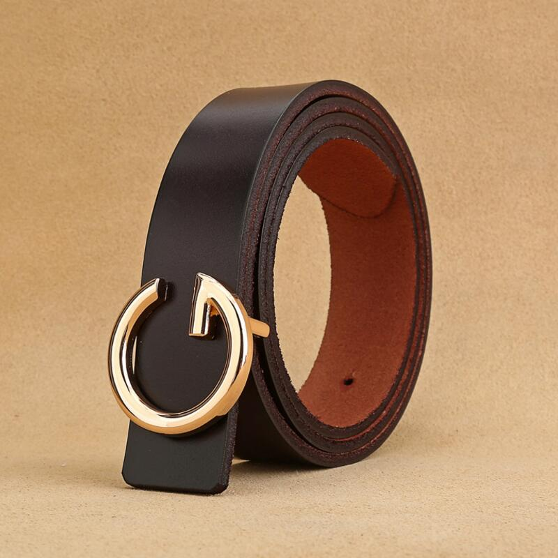Luxury Designer Women'sGenuine Leather Belt Metal Alloy Buckle Belts Women Female Cowskin LeatherWaist Belt Clothing Accessories