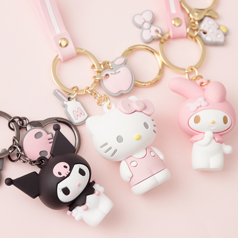Hello Kitty Kuromi Doll Keychains Cartoon Cute KT Cat Key Chain Accessories Pendant Car New KeyRings The Girl's Favorite Gift(China)