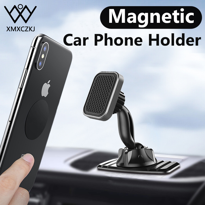 Universal Magnetic Car Phone Holder Double 360 Degree GPS Strong 3M Adhesive Holder For IPhone 11 Pro Max Dashboard Mount Holder