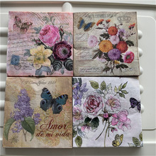 Servilletas de papel para mesa Decoupage pañuelo elegante vintage toalla flor estampilla de mariposa cumpleaños boda fiesta hogar hermosa decoración 20