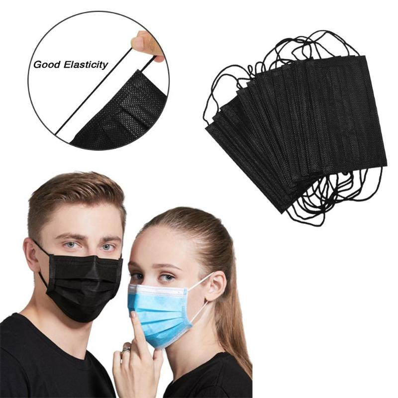 10pcs Black Disposable Mouth Mask Anti Dust Face Breathable 3 Layer Dustproof Masks Women Men Muffle Face Mouth Mask Heath Care