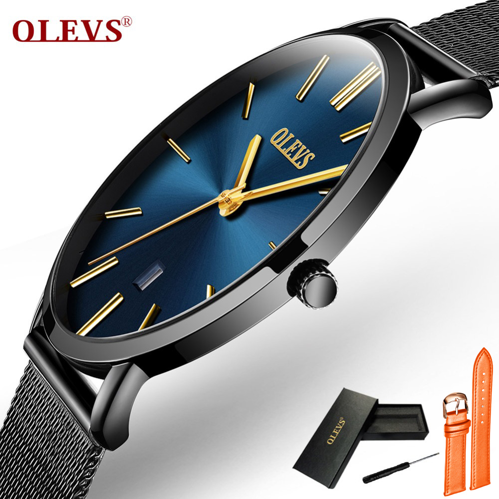 Ultra Thin Watches For Men Waterproof Quartz Watch Leather Stainless Steel Wristwatch With Date Calendar Clock Relogio Masculino