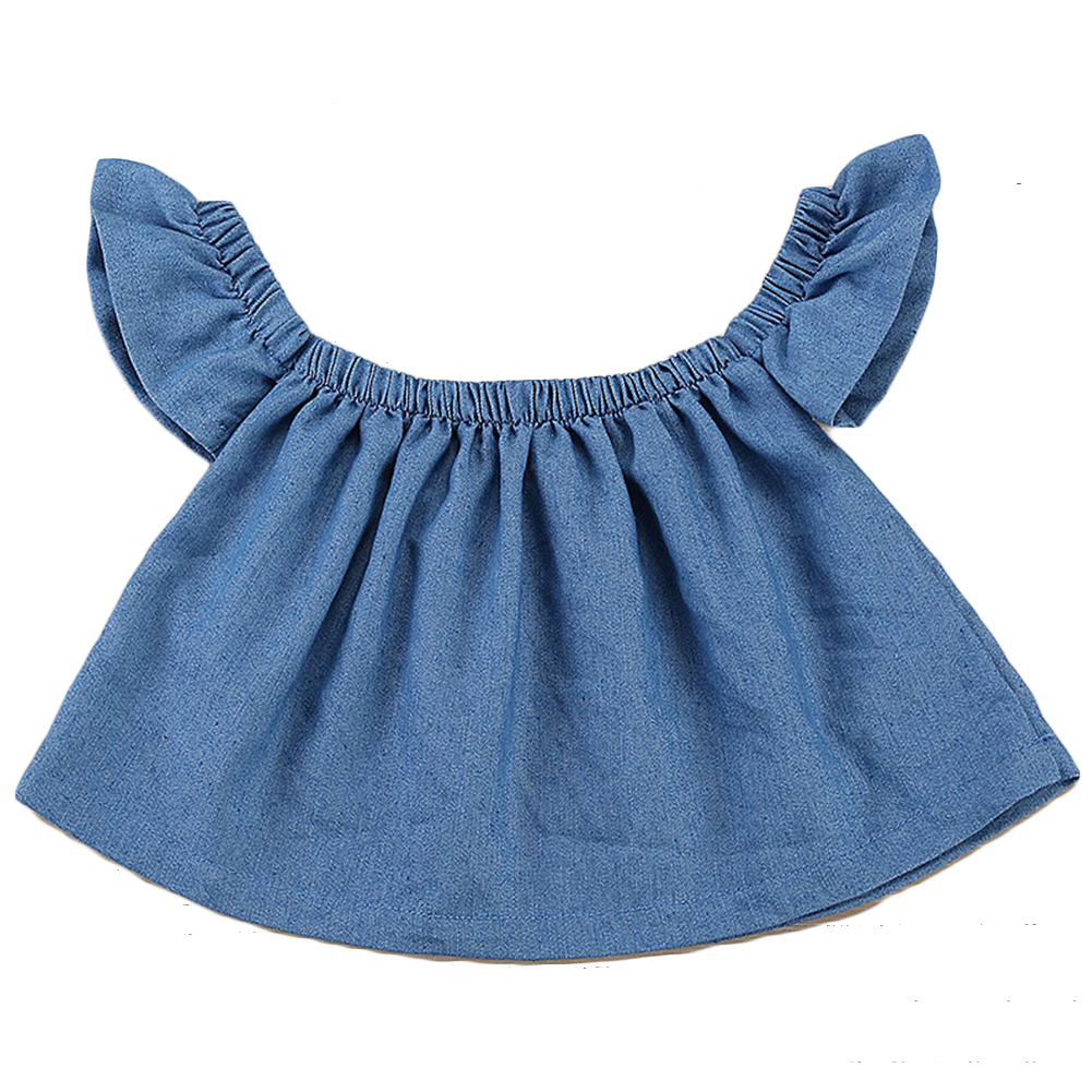 Fashion Summer Children Clothes Clothes For Kids Baby Girls Ruffled Off Shoulder Denim Tops T-shirt
