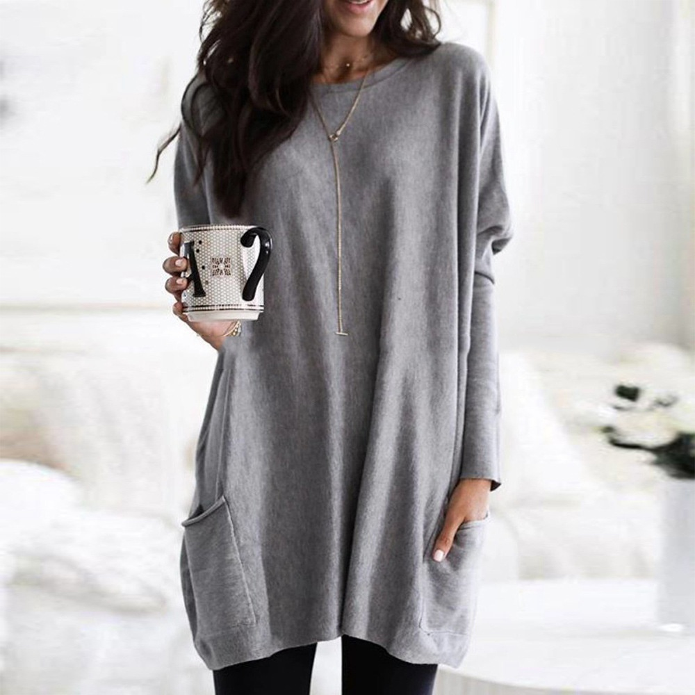 Women Long T-Shirts 2020 Autumn Winter Casual Loose Solid Pullover Round Neck Full Batwing Sleeve Pockets Tops Plus Size 5XL