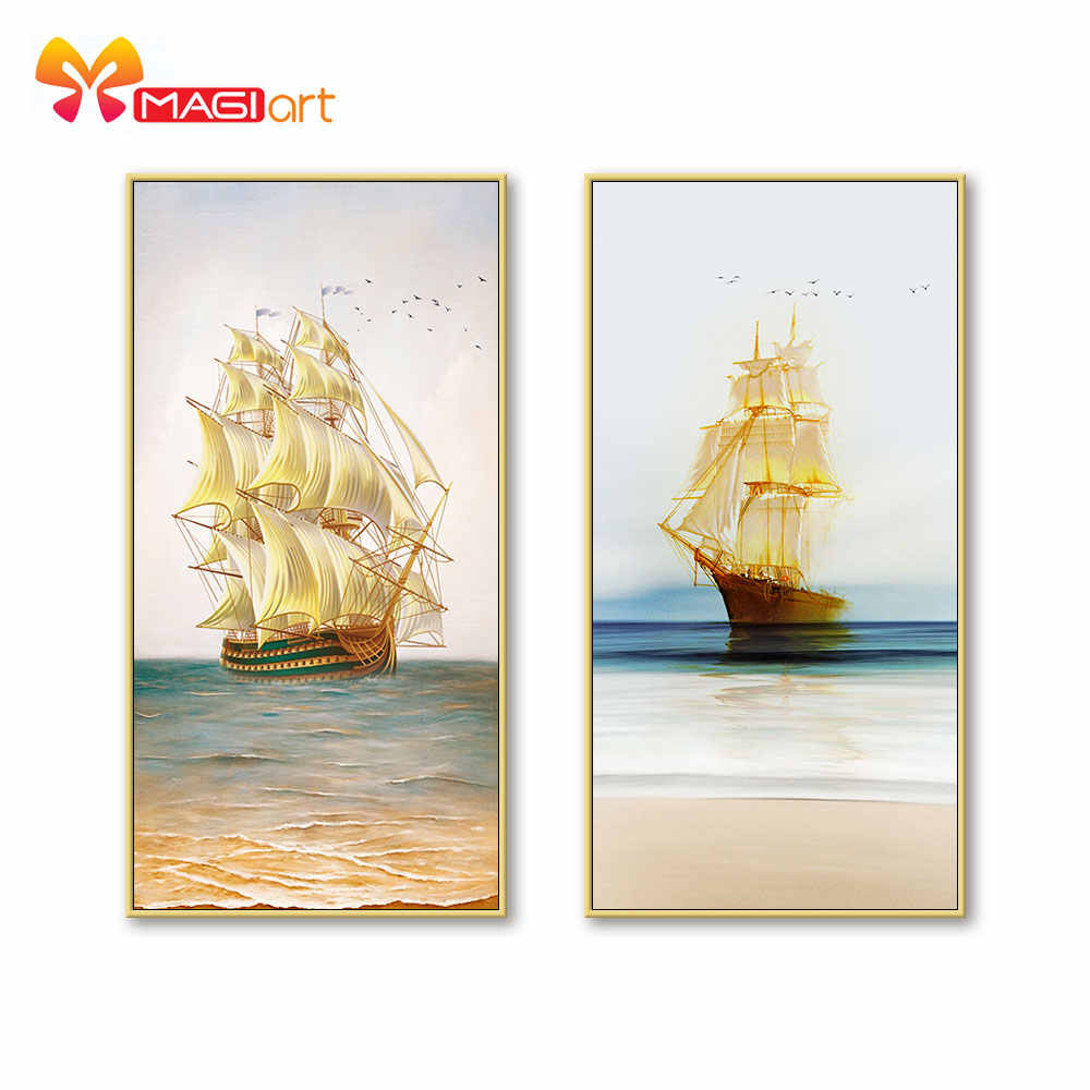 Kruissteek Kits Borduren Handwerken Sets 11CT Water Oplosbare Canvas Patronen 14C Landschap Schilderen Golden Sailboat-NCMS099