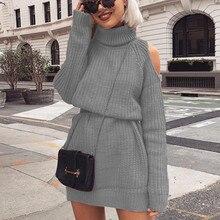купить Autumn Winter Women's Turtleneck Sweater Knitted High Collar Strapless Shoulder Sweater Dress Pullover Slim Jumper Sweater Women онлайн