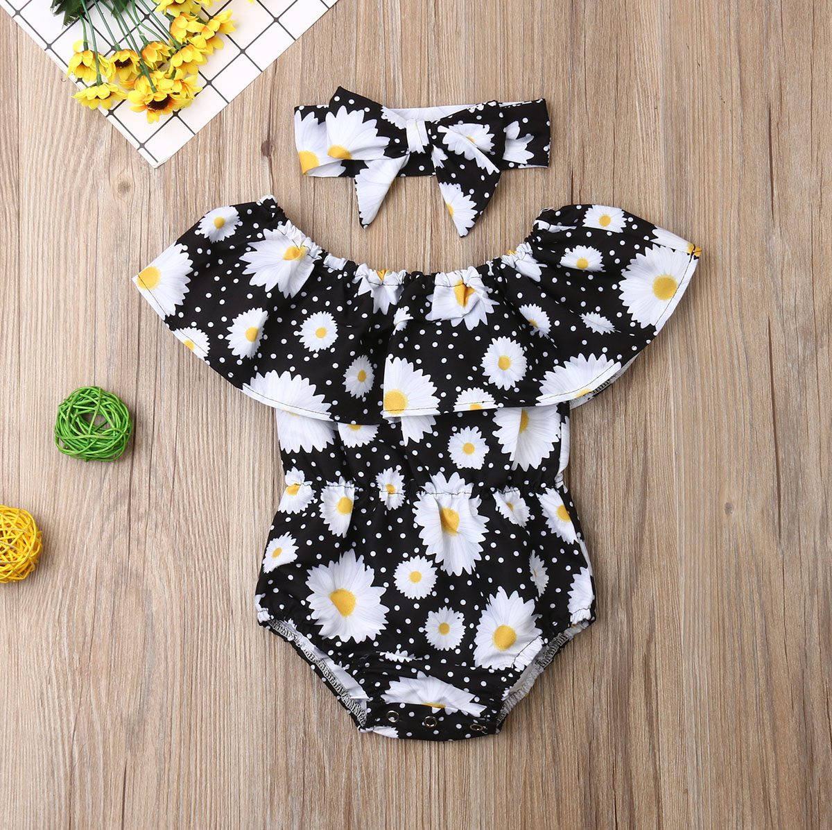 Pudcoco Newborn Baby Girl Clothes Sunflower Print Off Shoulder Ruffle Romper Jumpsuit Headband 2Pcs Outfits Cotton Clothes