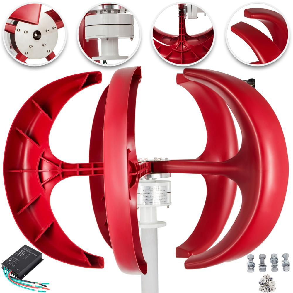 VEVOR-turbina aerogeneradora de 300W, 12V/24V, linterna roja, generador de viento Vertical, 5 hojas con controlador