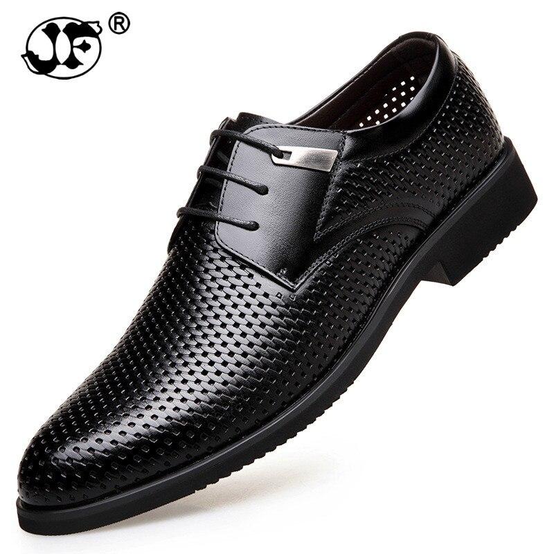 Летняя модная официальная Мужская обувь; дышащие модельные туфли в деловом стиле с перфорацией и кружевом; повседневные сандалии из натура